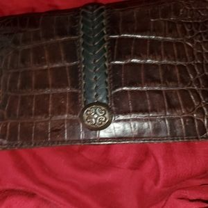 Brighton Croc Embossed Leather Checkbook Wallet